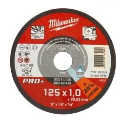 Disc abraziv Milwaukee Pro+ 125x1.0 mm debitare metal